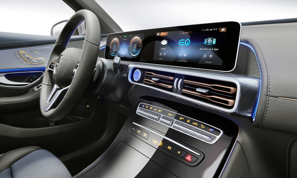 The EQC features the brand's latest MBUX infotainment system.