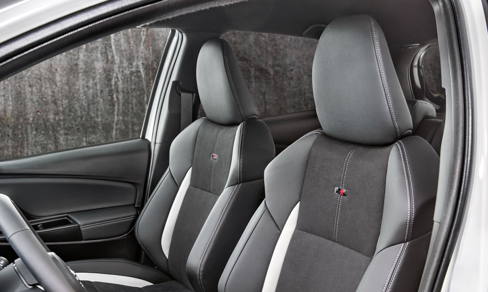 Sport seats come standard, complete with GR logos.