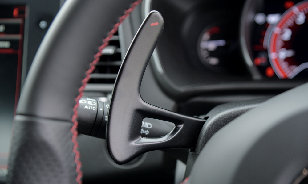 EDC paddles are fixed to the steering column.