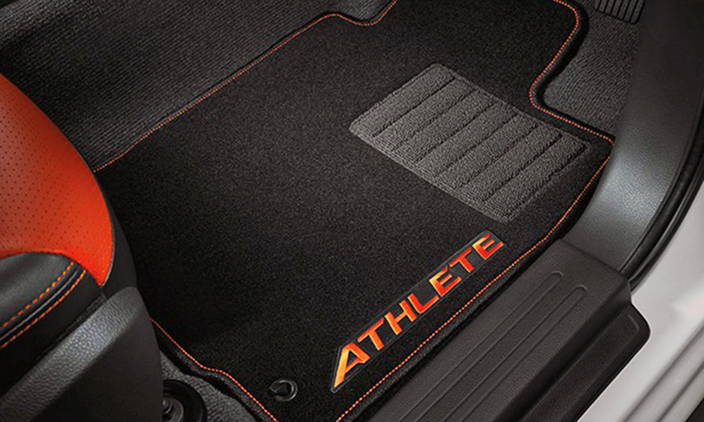 The floor mats are also branded.