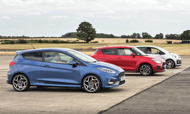 Hatchback drag race with Up GTI, Fiesta ST and Swift Sport