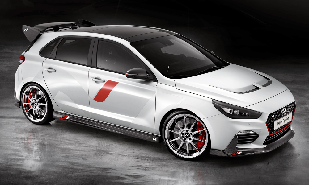 The Hyundai i30 N 'N Option' show car is fitted with a number of accessories.