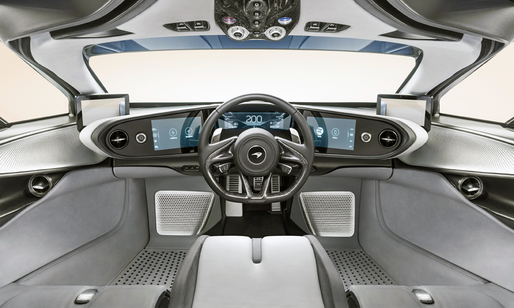 Like the F1, the Speedtail features a central driving position.