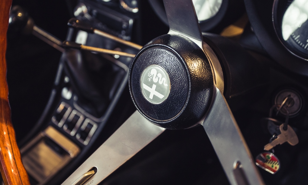 The steering wheel and gearlever from a 1976 Alfa Romeo 2,0-litre Spider Series 2.