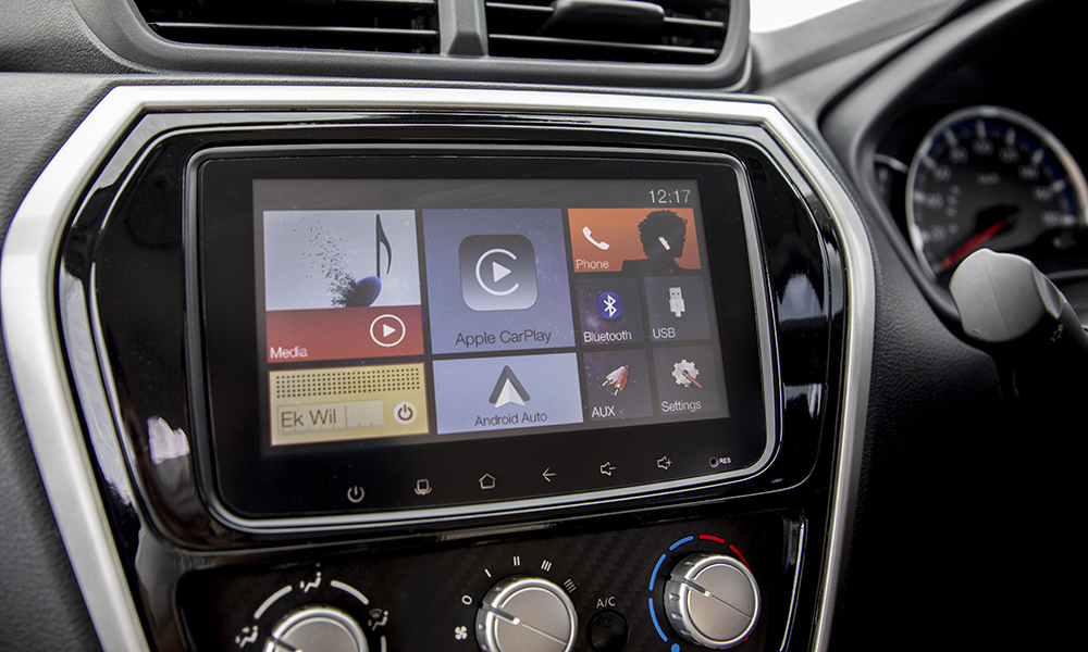 A user-friendly seven-inch touchscreen infotainment system is offered.