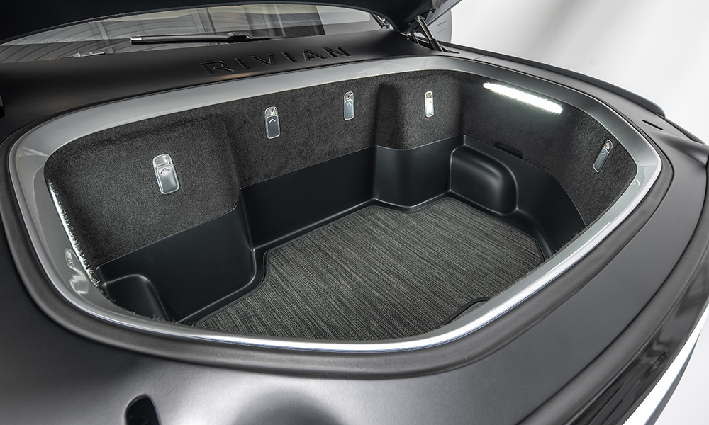 Thanks to not having a conventional combustion engine, the R1T offers a front-loading luggage compartment.