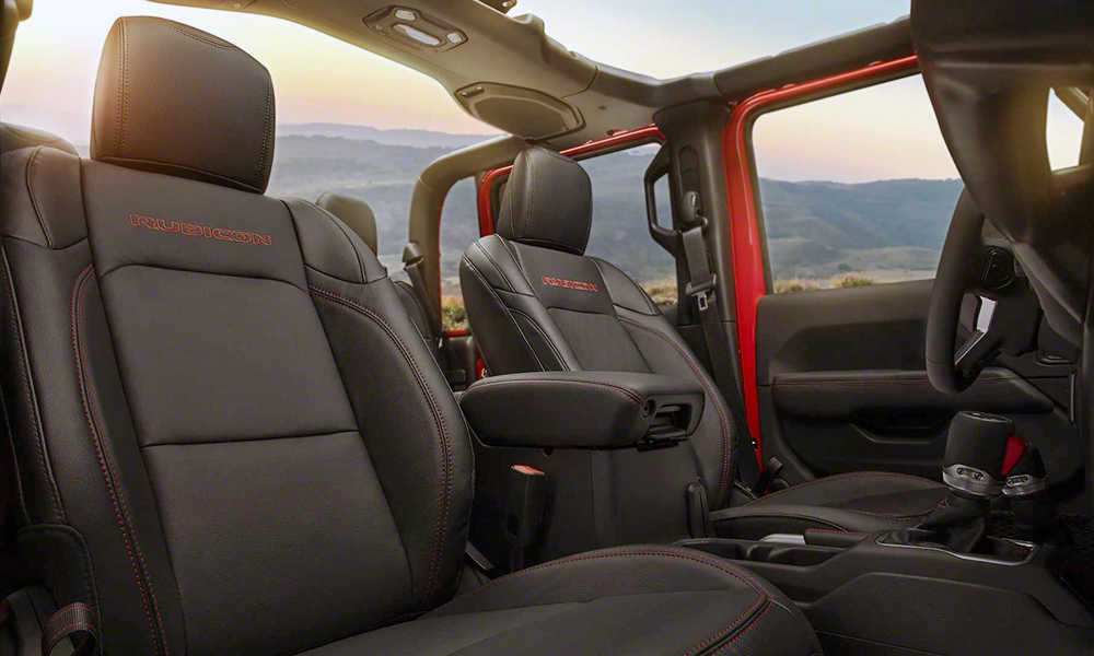 The leather-finished seats feature accent stitching.