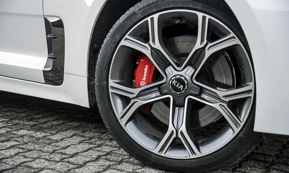 19-inch alloys are standard and wrapped in different-size tyres front to back.