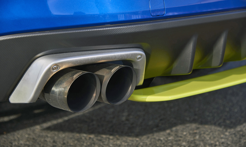A performance exhaust is part of the upgrade.