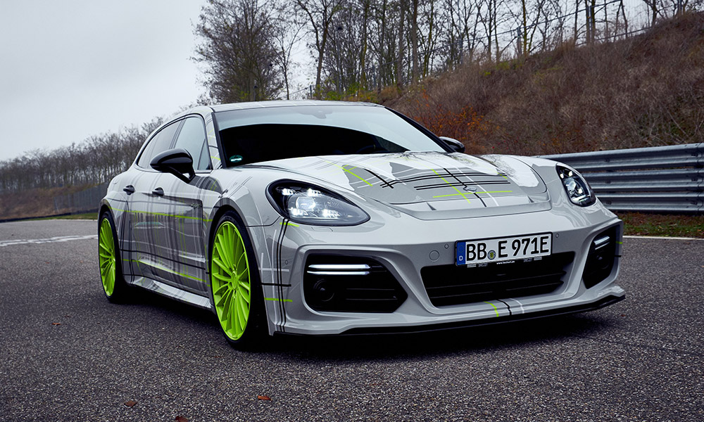 The bright green wheels cannot be missed.