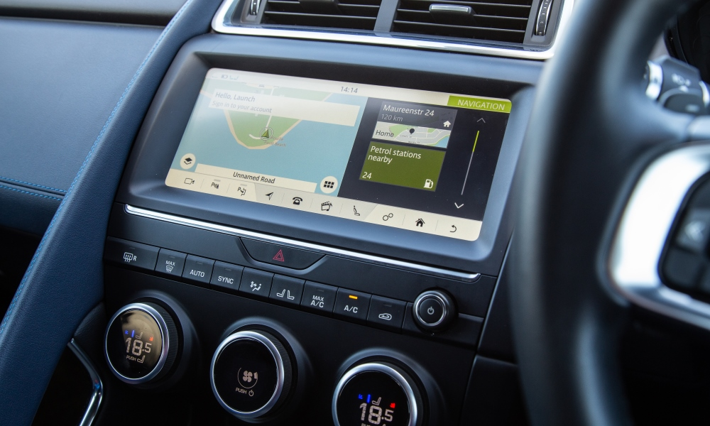 Infotainment system includes voice control. 10-inch Touch Pro screen works well.