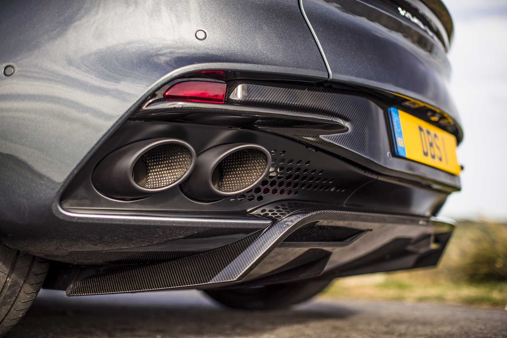 A throaty sound is emitted from this quad-exhaust system.