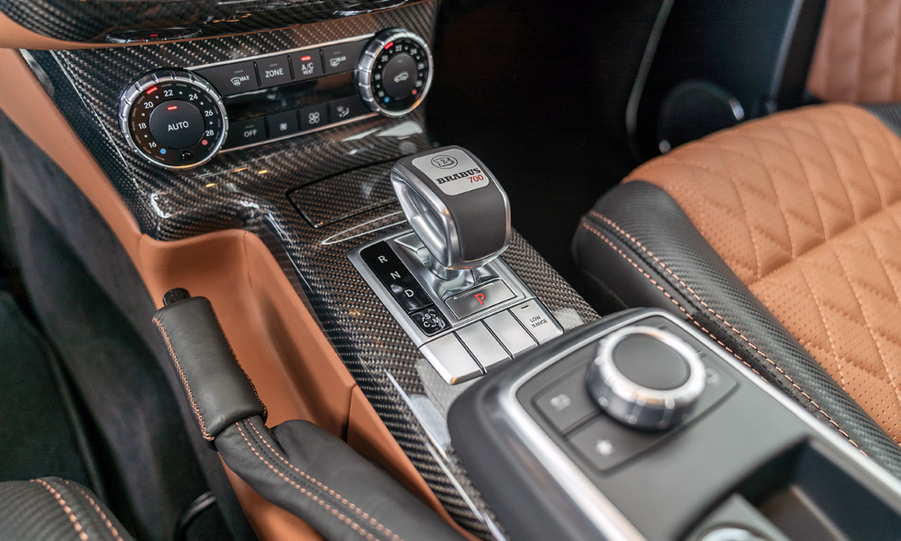 Two-tone leather upholstery comes standard, although other options are available.