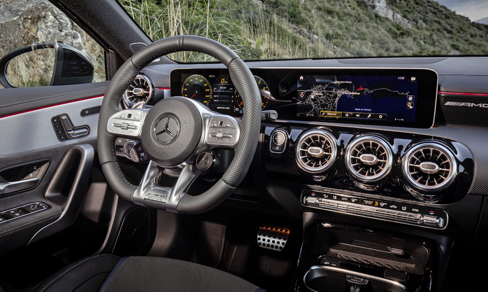 The AMG Performance steering wheel features Edition badging.