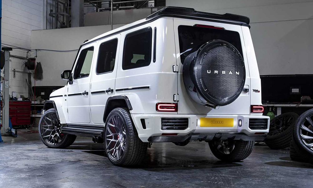 The G-Class boasts an array of carbon-fibre items, all hand made by the firm.