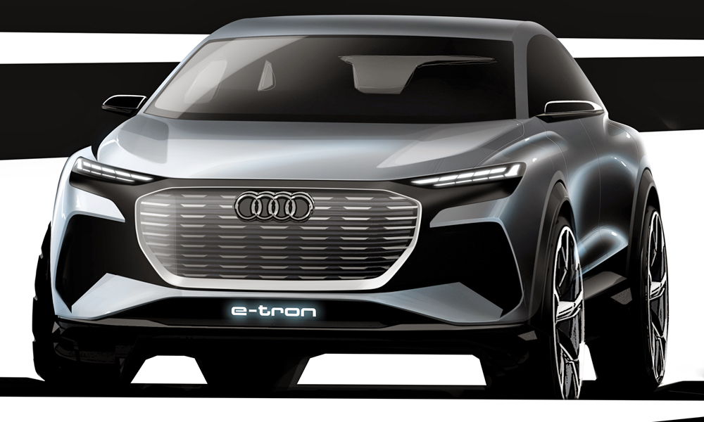 Audi has released teaser sketches of its upcoming Q4 e-tron concept.