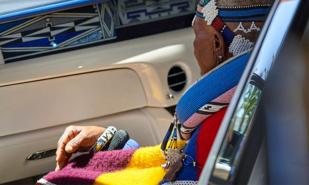 Dr Esther Mahlangu saw the finished product for the first time at the car's Cape Town unveiling.
