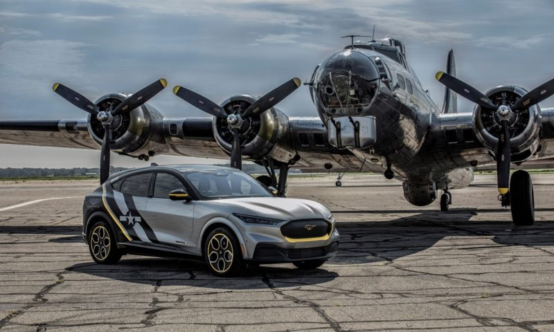 Ford Mustang Mach-E women Airforce with plane